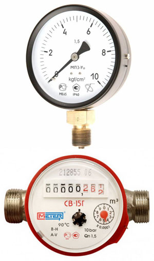 Контрольно измерительные приборы счётчики для воды и газа  Инженерная сантехника Контрольно измерительные приборы счётчики для воды и газа